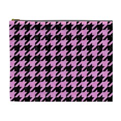 Houndstooth1 Black Marble & Pink Colored Pencil Cosmetic Bag (xl)