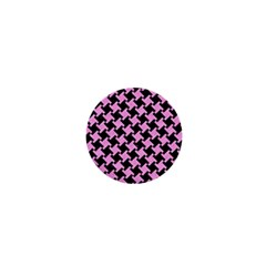Houndstooth2 Black Marble & Pink Colored Pencil 1  Mini Buttons by trendistuff