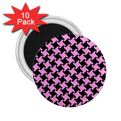 Houndstooth2 Black Marble & Pink Colored Pencil 2 25  Magnets (10 Pack)  by trendistuff