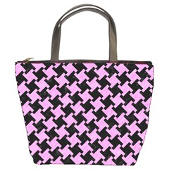 Houndstooth2 Black Marble & Pink Colored Pencil Bucket Bags by trendistuff