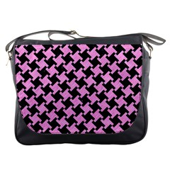 Houndstooth2 Black Marble & Pink Colored Pencil Messenger Bags by trendistuff