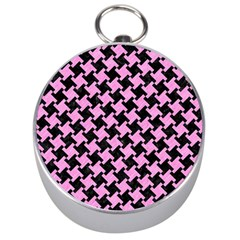 Houndstooth2 Black Marble & Pink Colored Pencil Silver Compasses by trendistuff