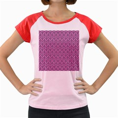 Hexagon1 Black Marble & Pink Colored Pencil Women s Cap Sleeve T Shirt