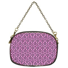 Hexagon1 Black Marble & Pink Colored Pencil Chain Purses (one Side)  by trendistuff