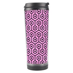 Hexagon1 Black Marble & Pink Colored Pencil Travel Tumbler by trendistuff