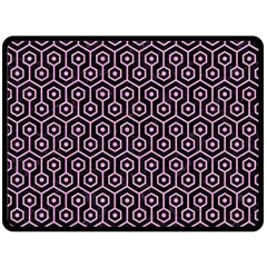 Hexagon1 Black Marble & Pink Colored Pencil (r) Double Sided Fleece Blanket (large)  by trendistuff