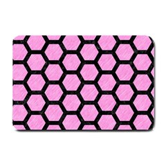 Hexagon2 Black Marble & Pink Colored Pencil Small Doormat  by trendistuff