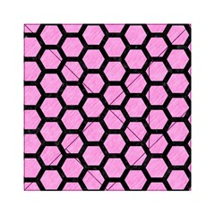 Hexagon2 Black Marble & Pink Colored Pencil Acrylic Tangram Puzzle (6  X 6 ) by trendistuff