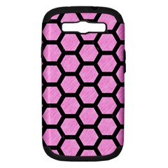 Hexagon2 Black Marble & Pink Colored Pencil Samsung Galaxy S Iii Hardshell Case (pc+silicone) by trendistuff