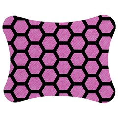 Hexagon2 Black Marble & Pink Colored Pencil Jigsaw Puzzle Photo Stand (bow) by trendistuff