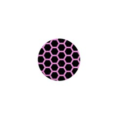 Hexagon2 Black Marble & Pink Colored Pencil (r) 1  Mini Magnets by trendistuff