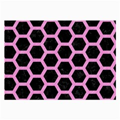 Hexagon2 Black Marble & Pink Colored Pencil (r) Large Glasses Cloth (2 Side) by trendistuff