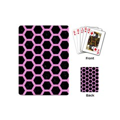 Hexagon2 Black Marble & Pink Colored Pencil (r) Playing Cards (mini)  by trendistuff