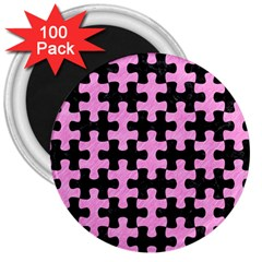 Puzzle1 Black Marble & Pink Colored Pencil 3  Magnets (100 Pack) by trendistuff