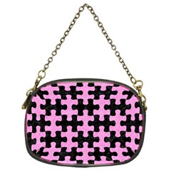 Puzzle1 Black Marble & Pink Colored Pencil Chain Purses (two Sides)  by trendistuff