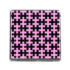 Puzzle1 Black Marble & Pink Colored Pencil Memory Card Reader (square) by trendistuff