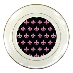 Royal1 Black Marble & Pink Colored Pencil Porcelain Plates by trendistuff