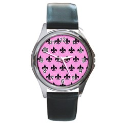 Royal1 Black Marble & Pink Colored Pencil (r) Round Metal Watch by trendistuff