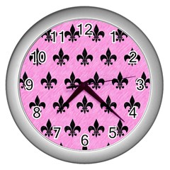 Royal1 Black Marble & Pink Colored Pencil (r) Wall Clocks (silver)  by trendistuff
