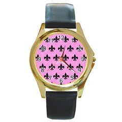 Royal1 Black Marble & Pink Colored Pencil (r) Round Gold Metal Watch by trendistuff