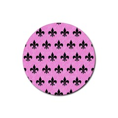 Royal1 Black Marble & Pink Colored Pencil (r) Rubber Coaster (round)  by trendistuff