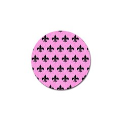 Royal1 Black Marble & Pink Colored Pencil (r) Golf Ball Marker by trendistuff