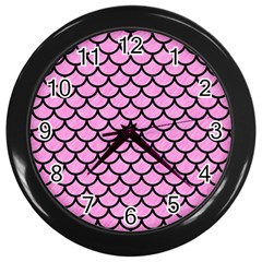 Scales1 Black Marble & Pink Colored Pencil Wall Clocks (black) by trendistuff