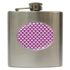 Scales1 Black Marble & Pink Colored Pencil Hip Flask (6 Oz) by trendistuff