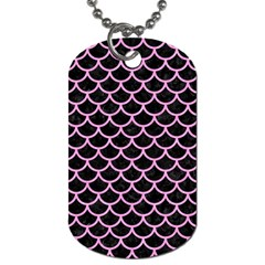 Scales1 Black Marble & Pink Colored Pencil (r) Dog Tag (two Sides) by trendistuff