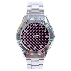 Scales1 Black Marble & Pink Colored Pencil (r) Stainless Steel Analogue Watch by trendistuff