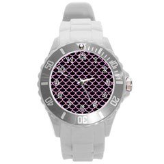 Scales1 Black Marble & Pink Colored Pencil (r) Round Plastic Sport Watch (l) by trendistuff