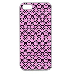 Scales2 Black Marble & Pink Colored Pencil Apple Seamless Iphone 5 Case (clear) by trendistuff