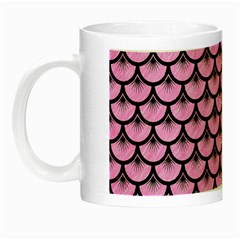 Scales3 Black Marble & Pink Colored Pencil Night Luminous Mugs by trendistuff