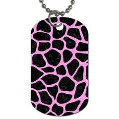 Skin1 Black Marble & Pink Colored Pencil Dog Tag (one Side) by trendistuff