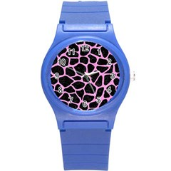 Skin1 Black Marble & Pink Colored Pencil Round Plastic Sport Watch (s) by trendistuff