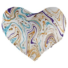 Abstract Marble 3 Large 19  Premium Flano Heart Shape Cushions by tarastyle
