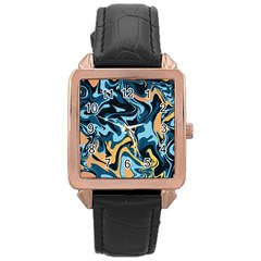 Abstract Marble 18 Rose Gold Leather Watch