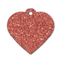 New Sparkling Glitter Print B Dog Tag Heart (one Side) by MoreColorsinLife