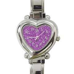 New Sparkling Glitter Print D Heart Italian Charm Watch by MoreColorsinLife