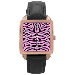 Skin2 Black Marble & Pink Colored Pencil Rose Gold Leather Watch