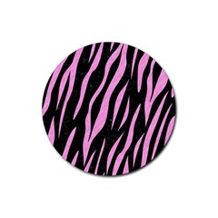 Skin3 Black Marble & Pink Colored Pencil (r) Rubber Round Coaster (4 Pack)