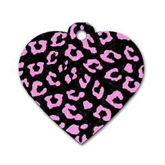 Skin5 Black Marble & Pink Colored Pencil Dog Tag Heart (two Sides)