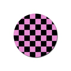 Square1 Black Marble & Pink Colored Pencil Rubber Coaster (round)  by trendistuff