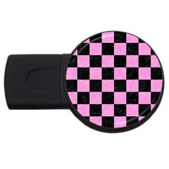 Square1 Black Marble & Pink Colored Pencil Usb Flash Drive Round (2 Gb) by trendistuff