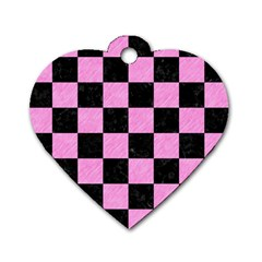 Square1 Black Marble & Pink Colored Pencil Dog Tag Heart (two Sides)