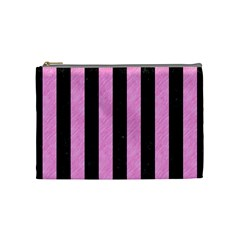 Stripes1 Black Marble & Pink Colored Pencil Cosmetic Bag (medium)  by trendistuff