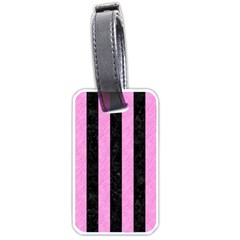 Stripes1 Black Marble & Pink Colored Pencil Luggage Tags (one Side)  by trendistuff