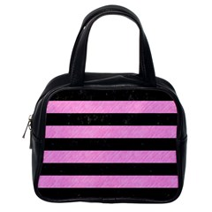 Stripes2 Black Marble & Pink Colored Pencil Classic Handbags (one Side) by trendistuff
