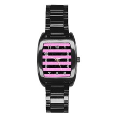Stripes2 Black Marble & Pink Colored Pencil Stainless Steel Barrel Watch
