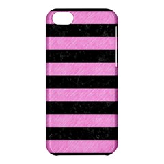 Stripes2 Black Marble & Pink Colored Pencil Apple Iphone 5c Hardshell Case by trendistuff